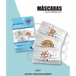 Blister 3 Máscaras menino tecido lavavel
